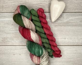 SOCK SET - Cornish Sleigh Ride - Hand Dyed Yarn - Superwash Merino - Hand Painted - Tonal Variegated Yarn - Red Green