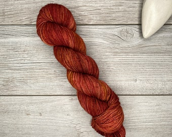 I See Fire - Merino Nylon Blend - Hand Dyed Yarn - Blend of Oranges, Copper, Red - Hobbit Tolkien