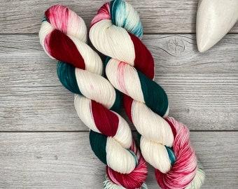 Christmas Taffy - Hand Dyed Yarn - Superwash Merino - Hand Painted - Tonal Variegated Yarn - Red Green