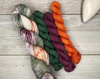 SOCK SET - Dead Marshes - Merino Nylon Blend - Speckled Yarn - Purples, Oranges, Green - Hobbit Tolkien Inspired
