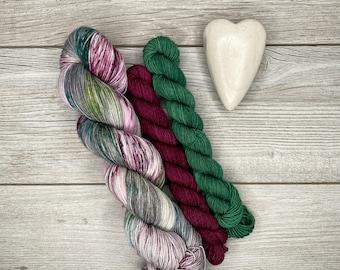 SOCK SET Sugar Plum Fairy - Hand Dyed Yarn - Superwash Merino - Hand Painted - Tonal Variegated Yarn - Speckled - Pink Purple Green
