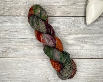 Dead Marshes - YAK - Hand Dyed Yarn - Hand Painted - Variegated Yarn - Orange, Purple, Green on Brown Base - Tolkien Hobbit Inspired