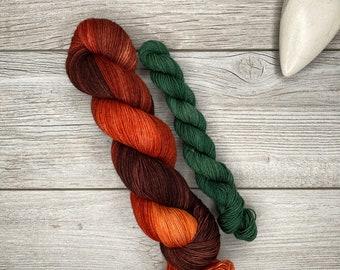 SOCK SET Fire of Orthanc - Merino Nylon Blend - Hand Dyed Yarn - Tonal Variegated Yarn - Speckled - Oranges, Copper, Brown - Hobbit Tolkien