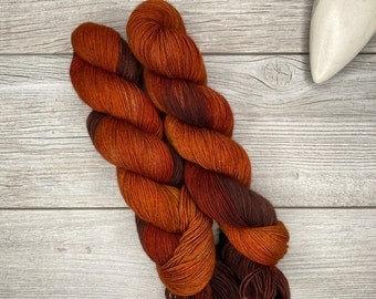 Fire of Orthanc - YAK - Hand Dyed Yarn - Hand Painted - Variegated Yarn - Orange, Copper and Brown - Tolkien Hobbit Inspired