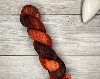 Fire of Orthanc - Merino Nylon Blend - Hand Dyed Yarn - Tonal Variegated Yarn - Speckled - Oranges, Copper, Brown - Hobbit Tolkien