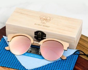 f71f9e1dbc2a Women s Oval Sunglasses Polarized Wood Sun Glasses in Wooden Gift Box