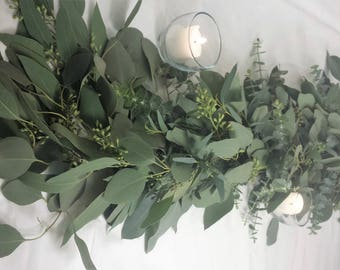 Fresh Garland Seeded Eucalyptus Gunnii Silver Dollar Wedding Table Runner Arch