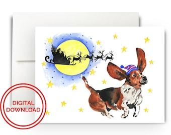 Basset Hound Christmas Card / Printable Holiday Card / Digital Download / Print at Home Christmas Card