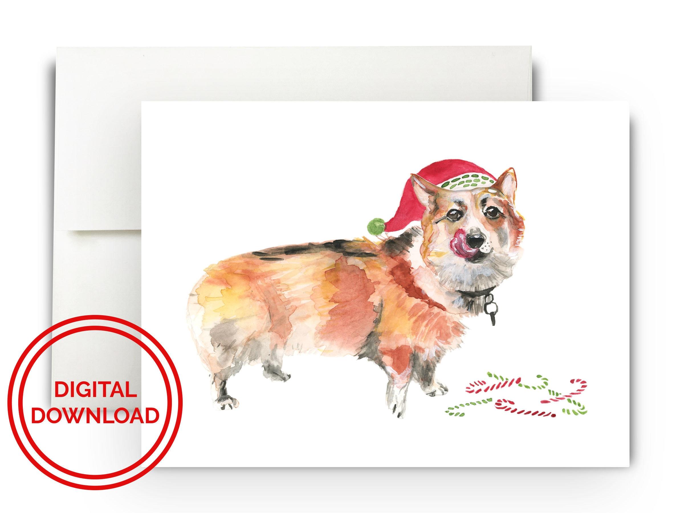 Corgi Christmas Card Digital Download Watercolor Holiday | Etsy