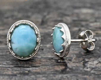 5x7mm Oval gold plated Blue Larimar  post earrings