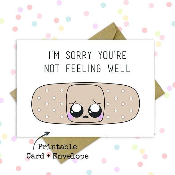 Not feeling well card/ Feel better/ Adorable kawaii card/ Cute motivational  card/ Long distance love/ Best friend card/ Encouraging quotes