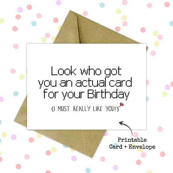graphic regarding Funny Printable Cards titled Birthday greeting playing cards/ Amusing printable birthday card/ Ultimate second present/ Downloadable card/ Printable card with envelope/ Hilarious card