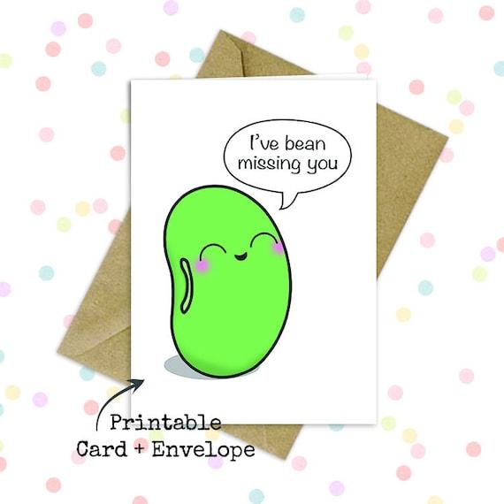 Cute Goodbye Card Missing You Card Going Away Card Long Distance Card Adorable Kawaii Card Printable Blank Card Long Distance Bday