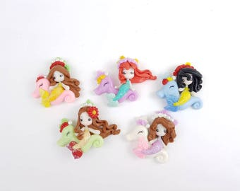 Mermaid set of 5 - princess - seahorse - clay charms - kawaii - Hair bow centre -embellishment - flat back - scrapbooking