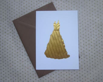 Gold Folded Paper Dress Greetings Card, Handmade