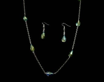 Teardrop Polychromatic Glass Bead Necklace Set