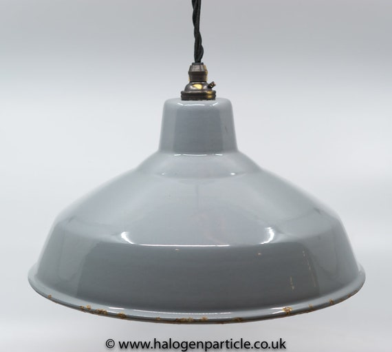 """Vintage 12/"""" Green REAL Enamel Kitchen Pendant Lamp//Lights REWIRED 3 available"""