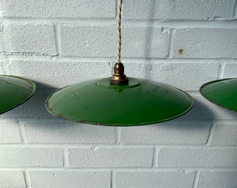 French Workers Green Enamel Pendant Light -  Industrial 1930's