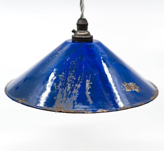 French Cobalt Blue Pendant Enamel Light Industrial 1930 S