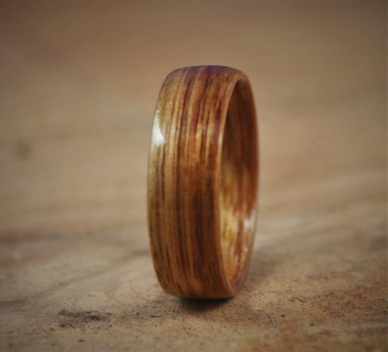 Custom Anniversary Womens Handmade Wedding Band Mens Engagement Wood Canarywood Ring Bentwood
