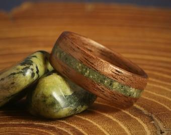 Bentwood Jade Ring - Mens Wedding Band - Jade - Wood Engagement Ring - Anniversary - Black Walnut Jade Inlay