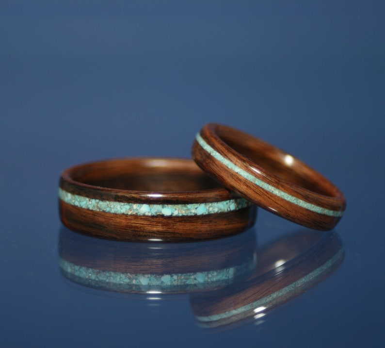 Wood Ring Wedding Band Bentwood English Brown Oak With Offset Turquoise Inlay Womens Mens