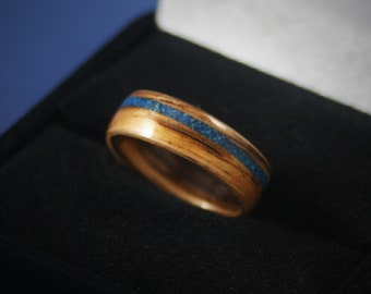 Wooden Ring - Bentwood  Zebrawood Ring Handmade - Men's Anniversary - Woman Wedding Band - Promise Ring - Engagement -Blue Stone Inlay
