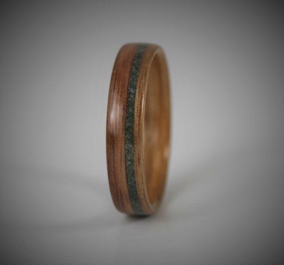 Bentwood Ring Jade Inlay Mens Wedding Ring Canary Wood Etsy