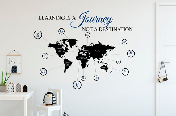 World Map Wall Decal Travel Wall Decal World Map Sticker Map Etsy