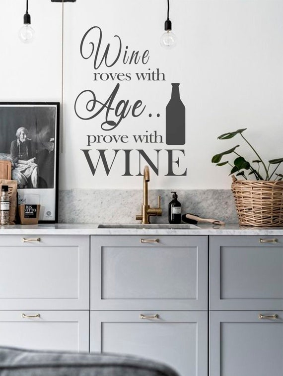 Kitchen wall decal, Kitchen Quote decal, Wine Wall Quote Decals, Kitchen  wall decor, Wine bottle sticker, Home wall decor, Wall Stickers