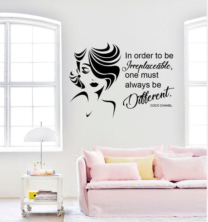 coco chanel quote wall decal chanel sticker wall decal | etsy