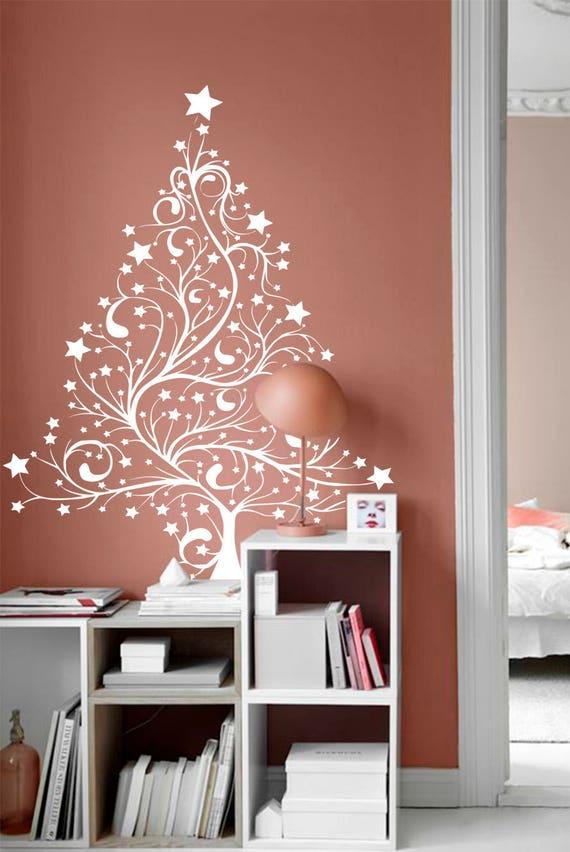 christmas tree wall decal-xmas tree decal-christmas | etsy