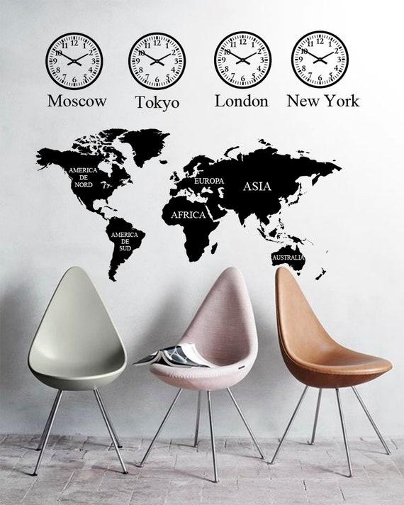 World map Wall Decal, Office wall decal, World Map sticker, Clock wall  decal, Office wall stickers, Clack sticker, Office decor, Map vinyl