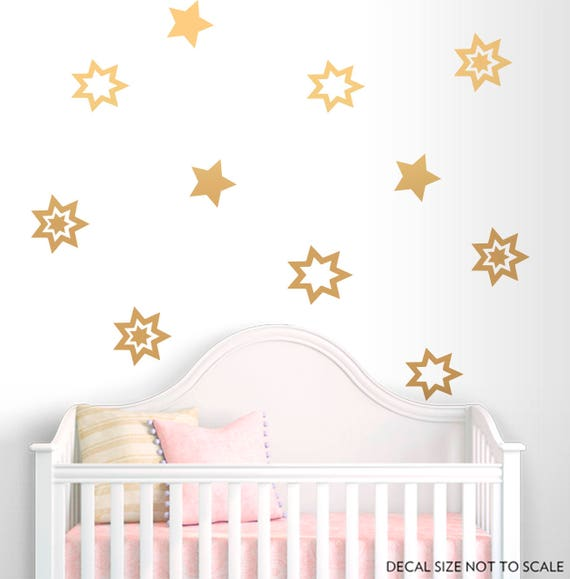 Stars Wall Decal-Gold vinyl decals-Gold stars decal-Stars | Etsy