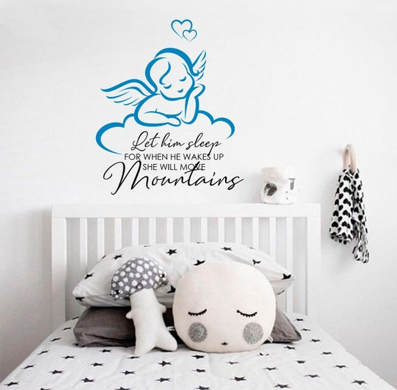 angel wall decal nursery wall stickers let him sleep quote | etsy