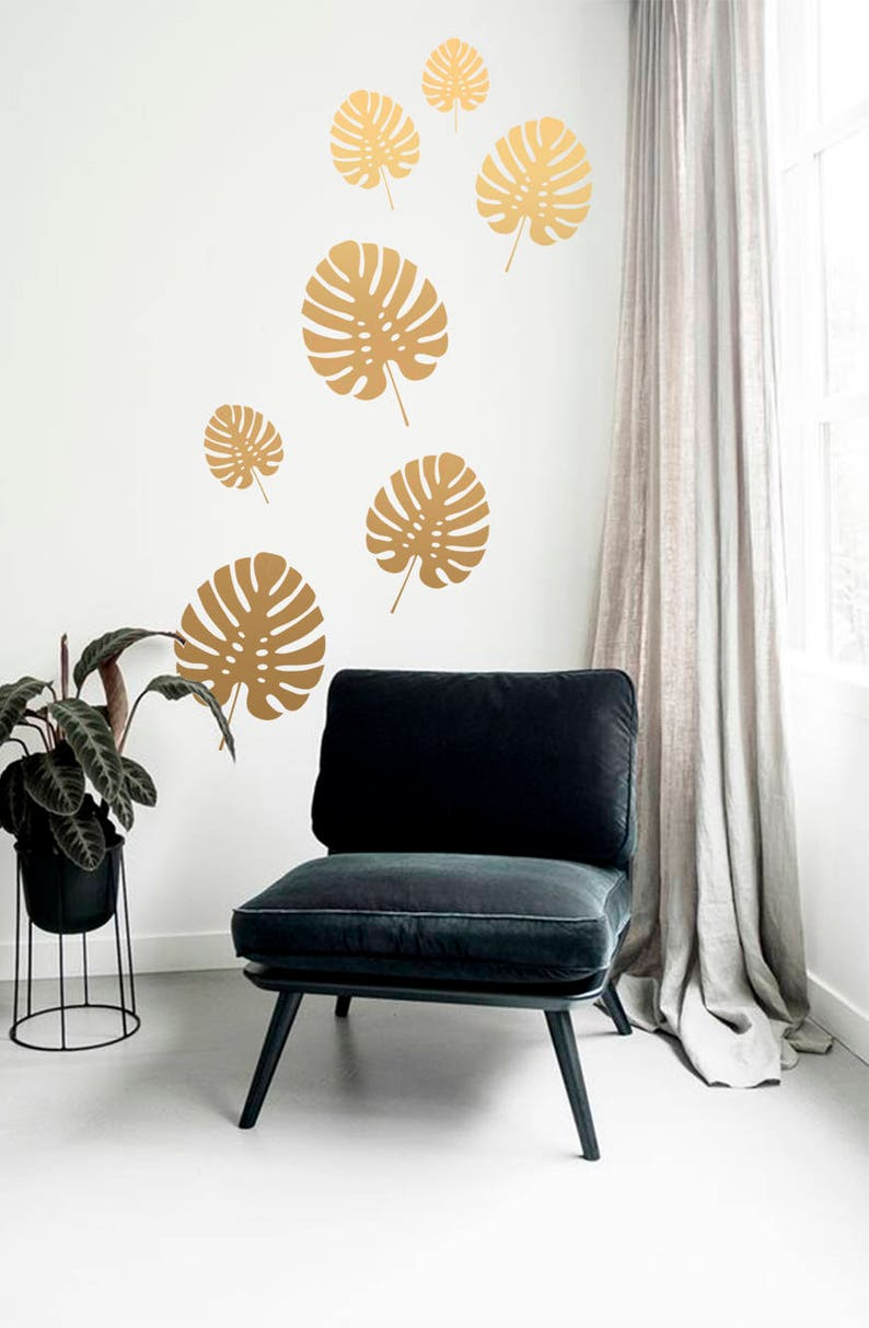 Summer wall decals Tropical home decor Bedroom decal Palm leaf wall decal Tropical wall decals Tropical leaf decal Leaves wall decals
