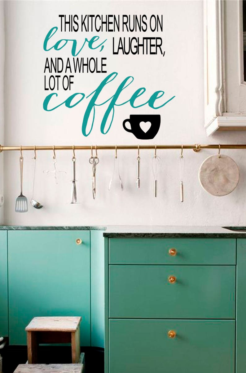 Kitchen quote decal-Family quote decal-Kitchen decal-Coffee wall decal-Kitchen wall decor-Coffee quote sticker-Vinyl sticker for kitche