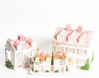 Porcelain Cookie Jar & Tea Village Set Sigma The Tastesetter