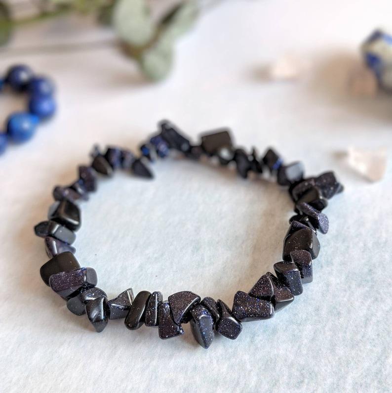 6274dd1d9d5e8 Blue Goldstone Stretch Bracelet, Gemstone Bracelet, Gemstone Bracelet, Navy  Bracelet, Blue Bracelet, Stacking Bracelet, Chip Bracelet