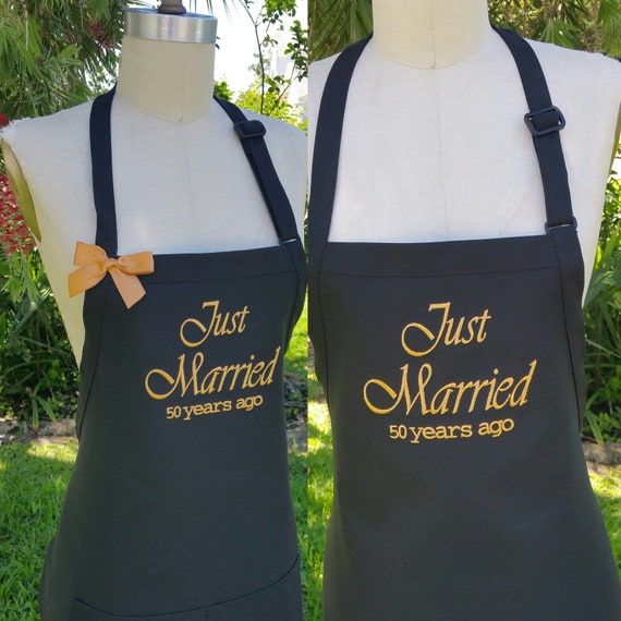 Mr And Mrs Personalized Aprons Black Aprons Embroidery In Gold Thread Quality Aprons Just Married 50 Years Ago Aprons