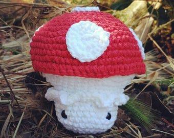 Hand-crocheted toadstool