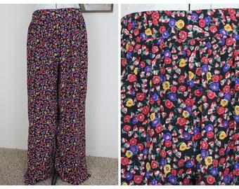 Floral Flowy Pants - Vintage Floral Pants Size 12 Vintage Pants