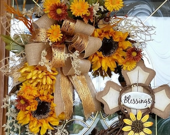 Sunflowers and Cross/Blessings Fall Door Wreath