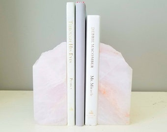 Pair of Rose Quartz Bookends - Polished Bookends - Rock Bookends - Millenial Pink Rose Quartz Bookends