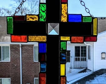 Patchwork Stained Glass Cross using the copper foil and solder method. Free Shipping in the United States