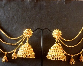 1cae64472 22K Gold Plated Indian Long Chain Extension Bahubali Earrings Jhumka Set