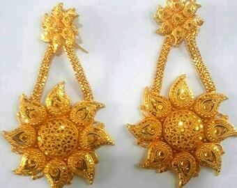 1513b4eda 22K Gold Plated Gorgeous Indian 4'' Long beautiful Flower Earrings Jhumka  Wedding Bridal Dangler Set a