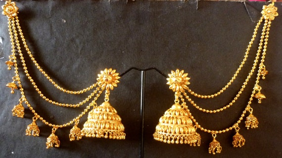 22k Gold Plated Indian Long Chain Extension Bahubali Earrings Etsy