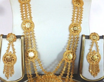 1 gm Gold Plated Indian Ginni Haar Necklace Earrings Tikka Wedding Bridal Set