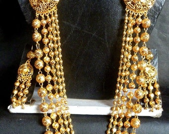 Gold Plated Ball Haar Indian Necklace Earrings Tikka Wedding 5 Lines Jewelry Set